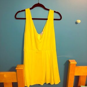 V Neck Yellow Mini Dress